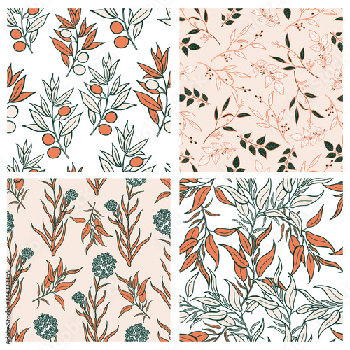 Fototapety, obrazy: Beautiful leaves and flowers summer pattern design set