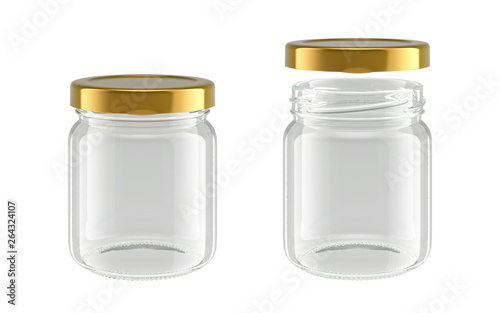 glass jar isolated on white background, 3D rendering Poster Mural XXL