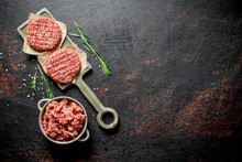 Raw Burgers With Ground Beef A...