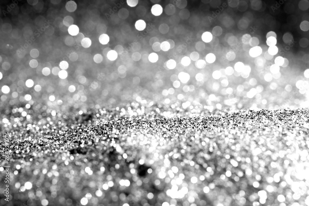 Fototapety, obrazy: Texture background abstract black and white or silver Glitter and elegant for Christmas