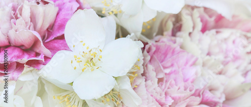 Photo  Flower background with jasmine and carnations.
