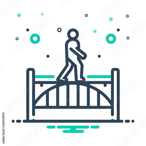 Fényképezés Mix line icon for footbridge