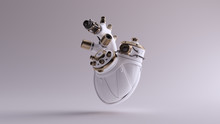 White Artificial Cyborg Heart With Gold Fittings And Rubber Tubes 3d Illustration 3d Render