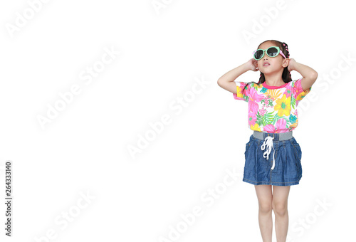 6836b5ff87f61 Cute little Asian kid girl wearing a flowers summer dress and sunglasses  isolated on white background