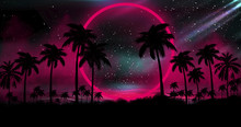 Night Landscape With Palm Tree...