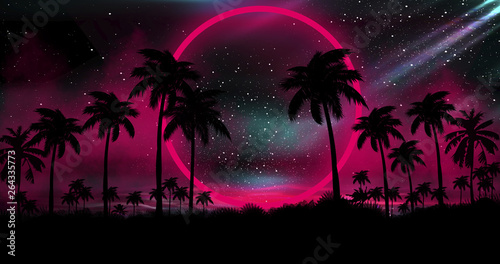 Noir Night landscape with palm trees, against the backdrop of a neon sunset, stars. Silhouette coconut palm trees on beach at sunset. Vintage tone. Space futuristic landscape. Neon palm tree