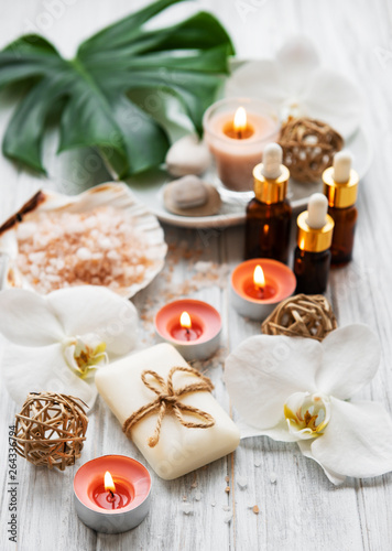 Poster Natural spa ingredients with orchid flowers