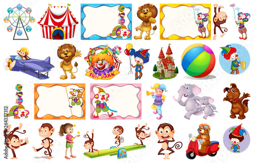 Set of different circus objects
