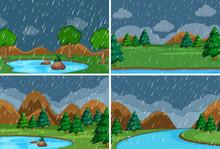 Set Of Raining In The Park