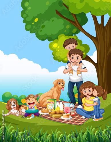 Canvas Prints Kids A family picnic scene