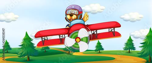 Papiers peints Avion, ballon Lion riding vintage plane
