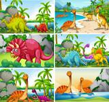 Fototapeta Dinusie - Set of dinosaur scenes