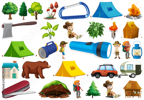 Photo Stands Kids Set of camping element