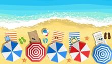 Beach Sun Umbrellas Flip-flops...