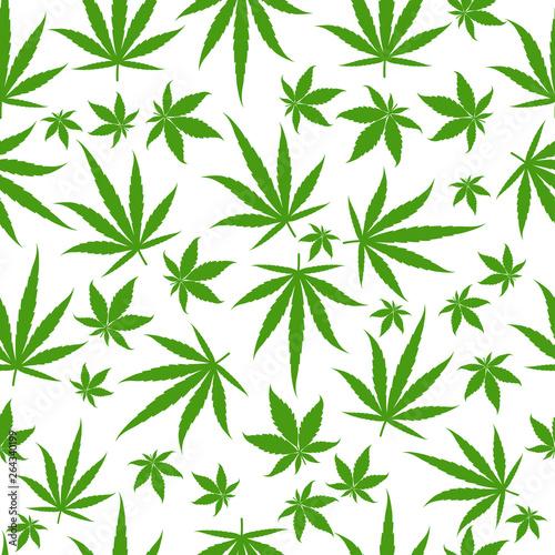 Obraz na plátně Marijuana green leaves on a white background