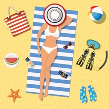Pretty Girl Is Lying On The Beach. Girl On The Beach With A Bikini. Summer Time. Beautiful Woman Wearing Lying On The Beach On A White And Blue Striped Towel. Vector Illustration In Flat Style