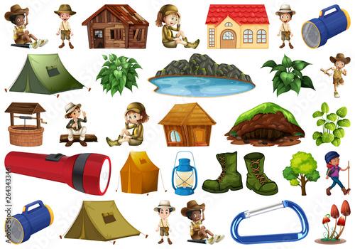 Cadres-photo bureau Jeunes enfants Set of camping element