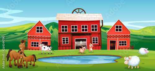 Poster Kids Farm animal at farmland