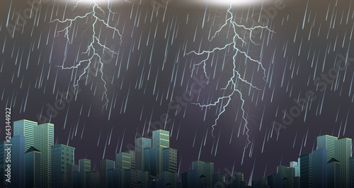 Canvas Prints Kids A thunderstorm storm urban scene
