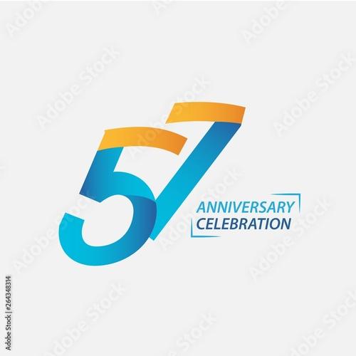 57 Year Anniversary Celebration Vector Template Design Illustration Canvas-taulu