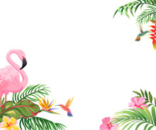 Background With Flamingos, Hummingbirds And Tropical Flowers