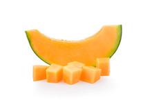 Fresh Melon Sliced On White Background