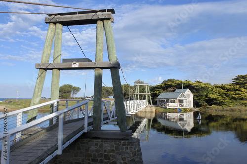 Lorne Swing Bridge and Boathouse in Victoria Australia Wallpaper Mural