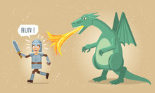 Illustration Of A Medieval Knight Running Away From A Dragon. Dragon Attacking Knight With Flame. Old Paper Background. Flat Style Vector Illustration