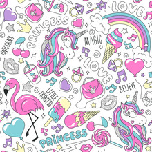 Pattern With Unicorn. Colorful Trendy Seamless Vector Pattern On A White Background. Fashion Illustration Drawing In Modern Style For Clothes. Drawing For Kids Clothes, T-shirts, Fabrics Or Packaging.