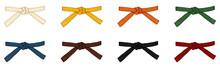Vector Set Of Cartoon Color Karate Belts.