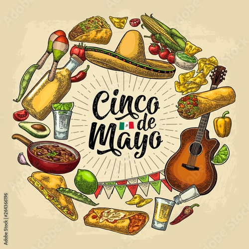 Circle shape set mexican food engraving. Cinco de Mayo lettering.