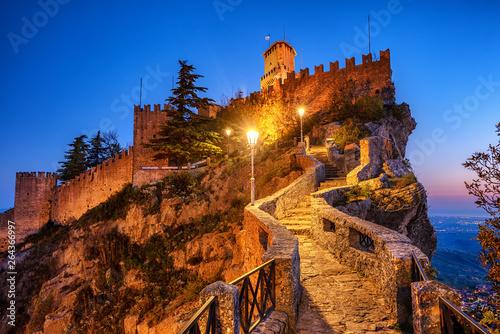 First tower of San Marino at night