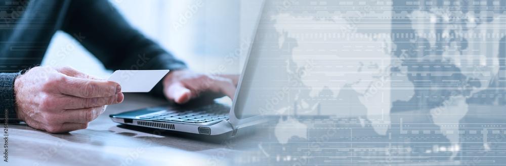 Fototapeta Online payment concept. panoramic banner