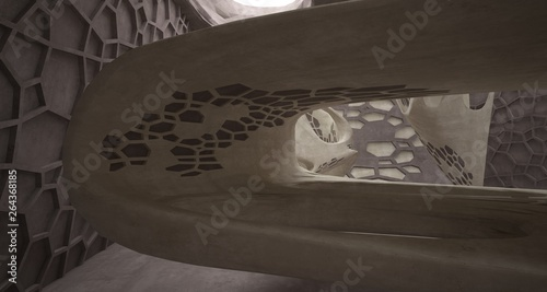 In de dag Route 66 Abstract white and concrete interior. 3D illustration and rendering.