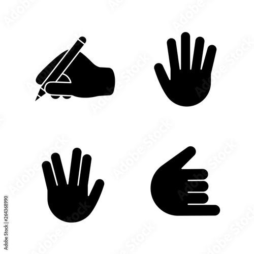 Photo  Hand gesture emojis glyph icons set