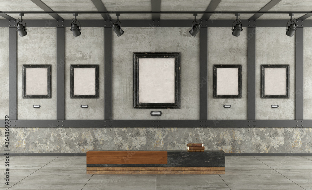 Fototapety, obrazy: Art gallery in loft with concrete wall and iron elements