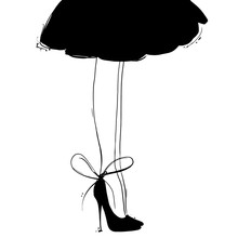 Vector Girl In High Heels With Little Black Dress. Fashion Illustration. Female Legs In Shoes. Cute Design. Trendy Picture In Vogue Style.
