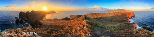 Foto auf AluDibond Schokobraun Beautiful 360 degree panoramic landscape panorama of the island Madeira at Ponta de Sao Lourenco nature reserve at sunrise