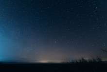 Night Blue Sky With Stars. Evening Sky On The Horizon.