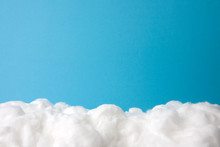 Cloud Made Out Of Cotton Wool On Sky Blue Background