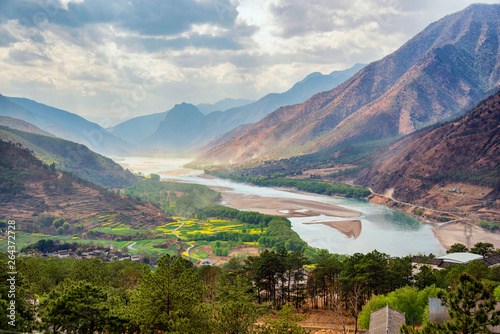 Acrylic Prints Forest river A famous bend of yangtze river in Yunnan Province, China, first curve of yangtze river , Lijiang