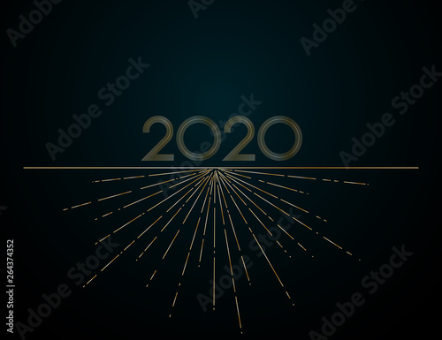 Fototapeta Gold Lines 2020 New Year On A Dark Background Creative Element For Design Luxury Cards Calendar Invitations For The New Year And Christmas