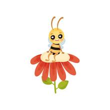 Cartoon Bee Sitting On The Big...
