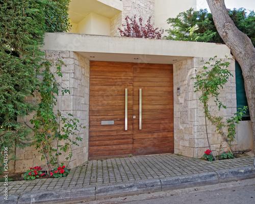 Foto op Canvas Tuin modern house entrance door, Athens cozy northern suburbs, Greece