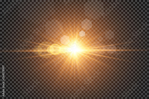 Obraz Vector transparent sunlight special lens flare light effect. Sun flash with rays and spotlight  - fototapety do salonu