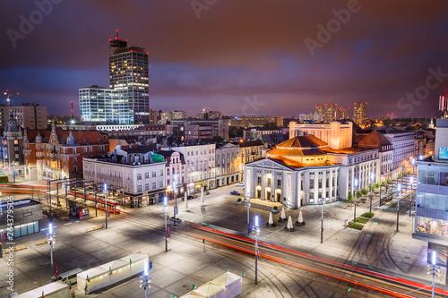 Obraz Katowice w nocy - fototapety do salonu