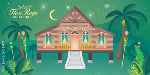 Pinturas sobre lienzo  traditional malay village house