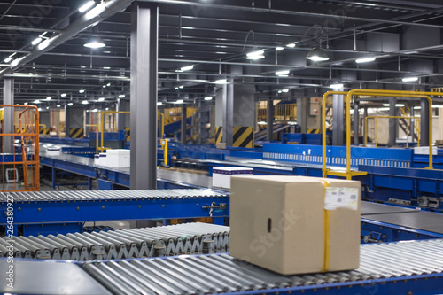 Cuadros en Lienzo Automated warehouse. Boxes moving on conveyer
