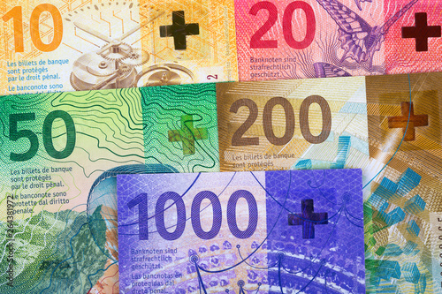 Swiss Francs, a business background Canvas-taulu