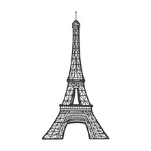 Eiffel Tower Sketch Engraving Vector Illustration. Scratch Board Style Imitation. Black And White Hand Drawn Image.